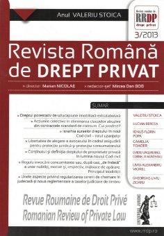 Imagine Revista romana de drept privat nr. 3/2013