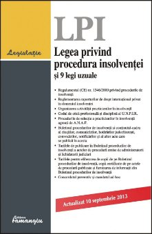 Imagine Legea privind procedura insolventei si 9 legi uzuale 10.09.2013