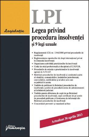 Imagine Legea privind procedura insolventei si 9 legi uzuale 30.04.2013