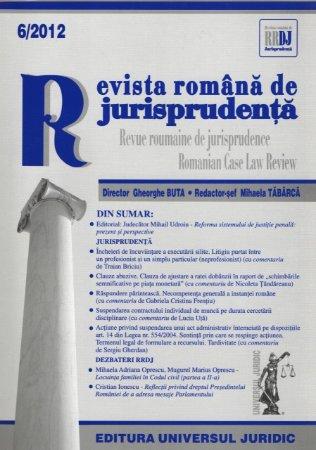 Imagine Revista romana de jurisprudenta nr. 6/2012