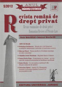 Imagine Revista romana de drept privat nr. 5/2012