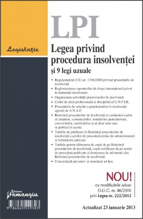 Imagine Legea privind procedura insolventei si 9 legi uzuale 23.01.2013