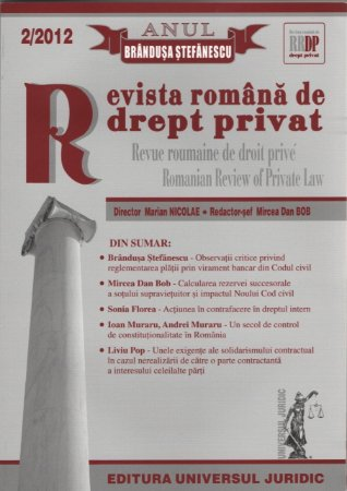 Imagine Revista romana de drept privat nr. 2/2012