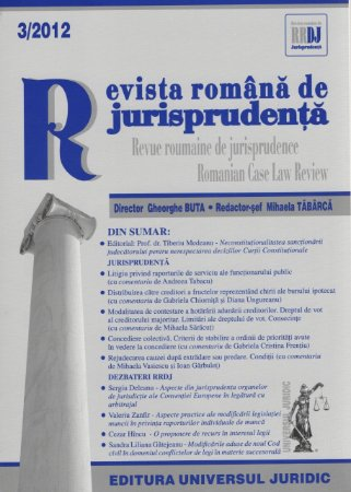 Imagine Revista romana de jurisprudenta nr. 3/2012