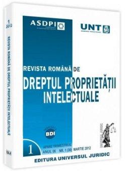 Imagine Revista romana de dreptul proprietatii intelectuale, Nr. 1/2012