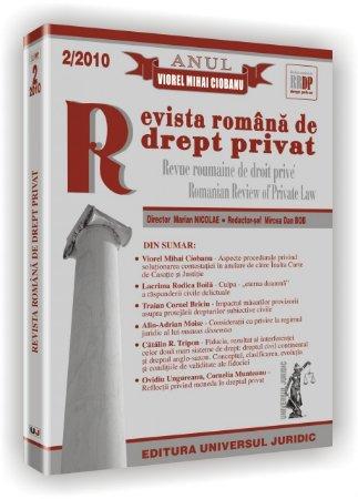 Imagine Cuprins Revista romana de drept privat, Nr. 2/2010
