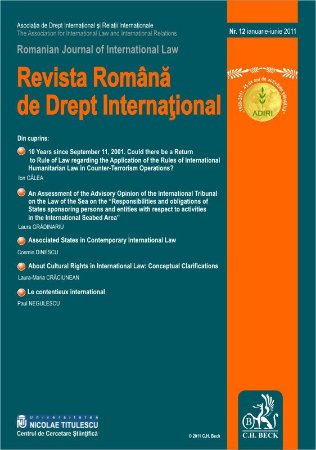 Imagine Revista Romana de Drept International, Nr. 12/2011