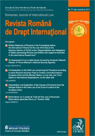 Imagine Revista Romana de Drept International, Nr. 11/2010