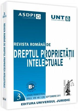 Imagine Revista romana de dreptul proprietatii intelectuale, Nr. 3/2011