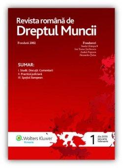 Imagine Revista Romana de Dreptul Muncii, Nr. 1/2010