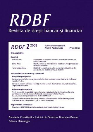 Imagine Revista de drept bancar si financiar, Nr. 2/2008