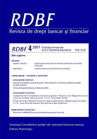 Imagine Revista de drept bancar si financiar, Nr. 4/2007