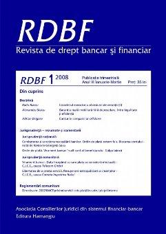 Imagine Revista de drept bancar si financiar, Nr.1/2008