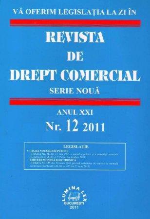 Imagine Revista de drept comercial, Nr. 12/2011