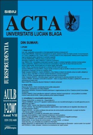 Imagine Acta Universitatis, Nr. 1-2/2007