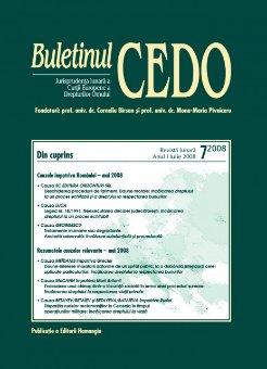 Imagine Buletinul CEDO, Nr. 7/2008