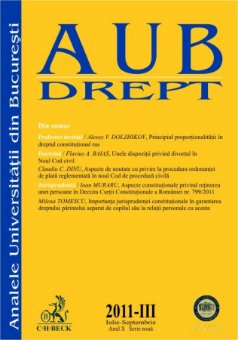 Imagine Analele Universitatii din Bucuresti - Seria Drept, Nr. III din 2011