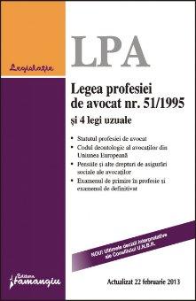 Imagine Legea profesiei de avocat nr. 51/1995 si 4 legi uzuale 22.02.2013
