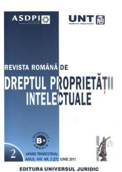 Imagine Revista romana de dreptul proprietatii intelectuale, Nr. 2/2011