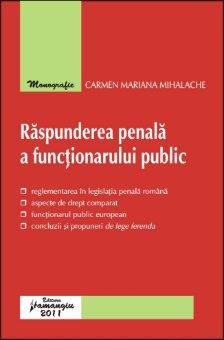 Imagine Raspunderea penala a functionarului public. Monografie
