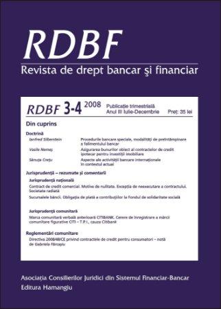 Imagine Revista de drept bancar si financiar, Nr. 3-4/2008