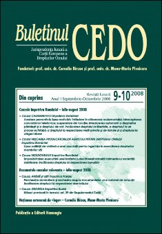 Imagine Buletinul CEDO, Nr. 9-10/2008