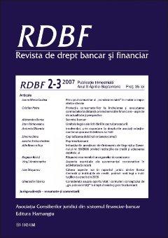 Imagine Revista de Drept Bancar si Financiar, Nr. 2-3/2007