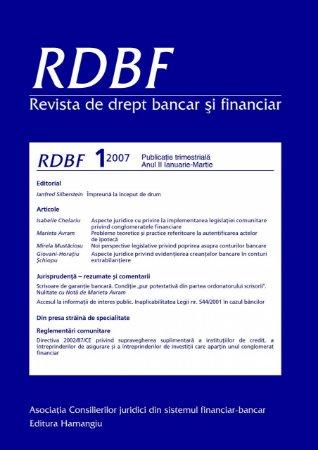 Imagine Revista de drept bancar si financiar, Nr. 1/2007
