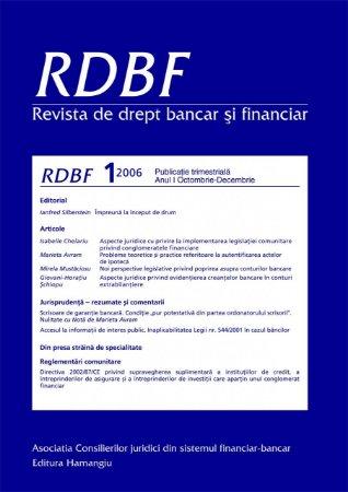 Imagine Revista de drept bancar si financiar nr. 4/2007