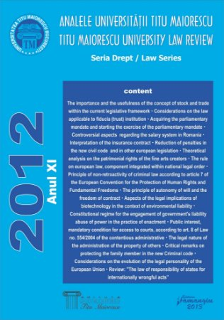 Analele Universitatii Titu Maiorescu - Titu Maiorescu University law review 2012