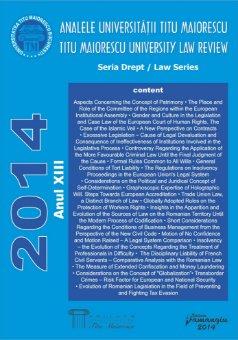 Analele Universitatii Titu Maiorescu - Titu Maiorescu University law review 2014