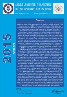 Analele Universitatii Titu Maiorescu - Titu Maiorescu University law review 2015