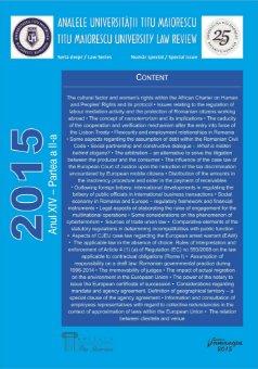 Analele Universitatii Titu Maiorescu - Titu Maiorescu University law review 2015 - Partea a 2-a