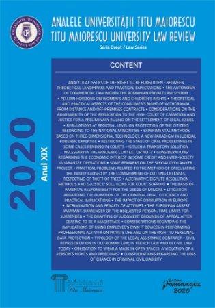 Analele Universitatii Titu Maiorescu 2020
